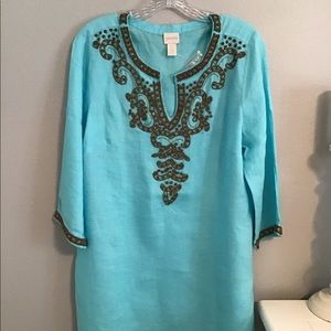 Chicos Turquoise Linen Beaded Tunic